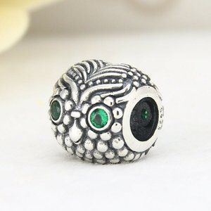 NEW Authentic Pandora Silver Green Enamel Charm